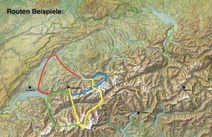 Alpenrundflug-Routen